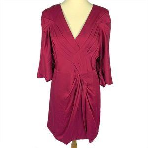 BCBGMaxAzria Runway 3/4 Ruched Sleeve Dress